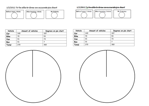 differentiated worksheets, drawing pie charts by mip2k - Teaching ...