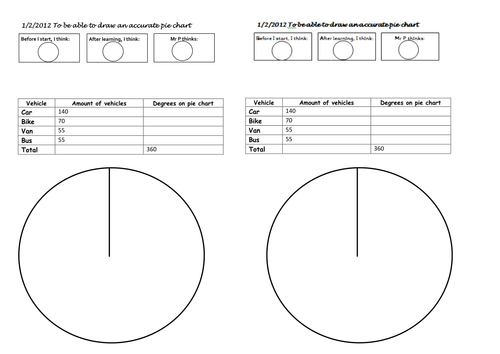 differentiated worksheets drawing pie charts by mip2k Teaching – Pie Graph Worksheets