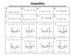 Inequality Match Up By Vhepworth22 Teaching Resources Tes