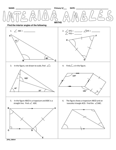 Ks2 Interior Angles Of Triangles By Jinkydabon Teaching Resources Tes