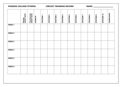 Circuit Training Cards Record Sheet by beachman0274 Teaching – Workout Worksheet