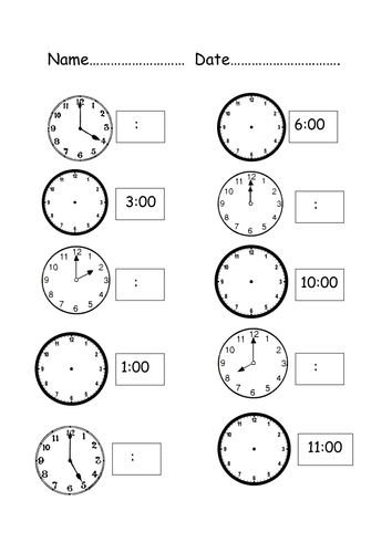 Time Worksheets » Time Worksheets Match Digital And Analogue ...