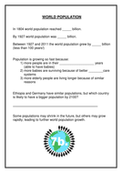 World Population filler - differentiated starter