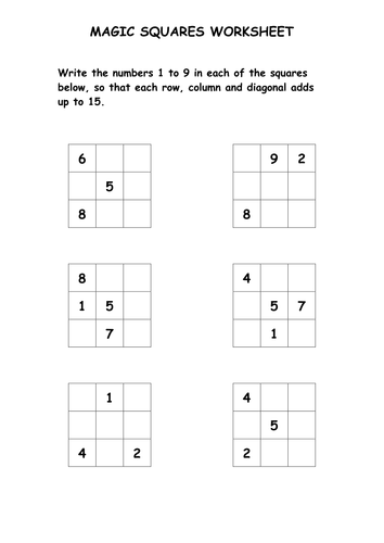 Magic Squares Puzzle Worksheet by ryansmailes - Teaching Resources ...