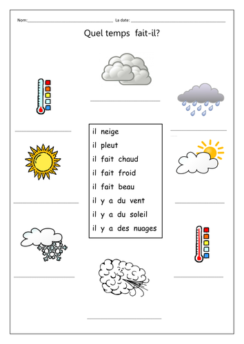Quel Temps Fait Il Gap Fill Weather Symbols By