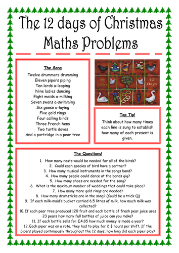 12 days of Christmas Questions by coops110  Teaching Resources  Tes