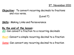 Converting Fractions To From Recurring Decimals By Whidds