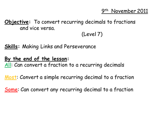 Converting fractions to and from recurring decimals by whidds – Recurring Decimals to Fractions Worksheet