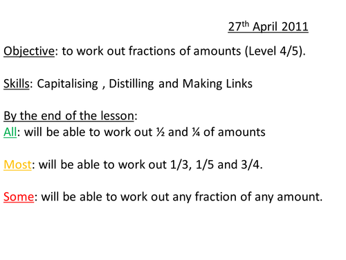 Fractions of Amounts lesson loop cards by whidds Teaching – Fractions of Quantities Worksheet