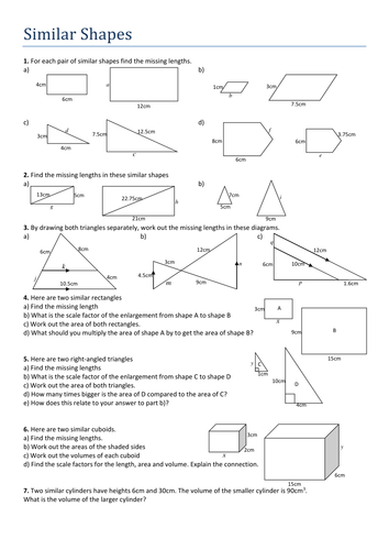 Similar Shapes Worksheet By Tristanjones Teaching