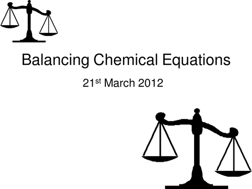 An introduction to balancing chemical equations by