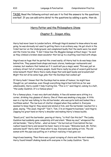 Harry Potter Book Extract ~ Harry potter comprehension by sazo teaching resources