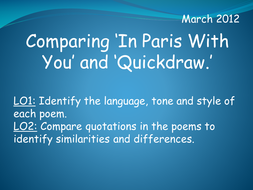 Comparing 'In Paris With You' and 'Quickdraw'