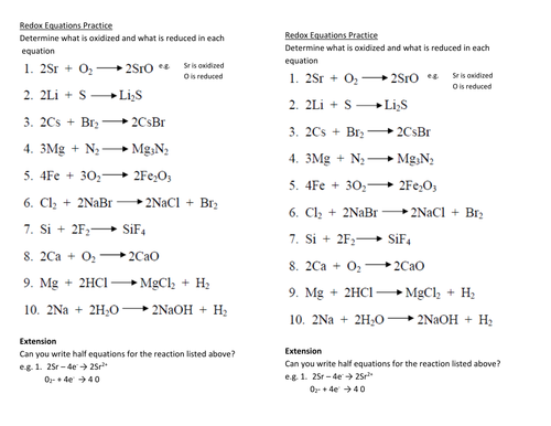 Redox Reactions Worksheet With Answers Delibertad – Redox Reactions Worksheet