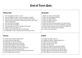 end of term general knowledge quiz by ryansmailes teaching