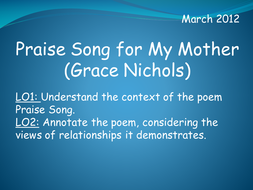 Praise Song for My Mother (Grace Nichols)