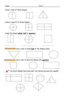 find half and quarters of shapes worksheets by ruthbentham teaching resources. Black Bedroom Furniture Sets. Home Design Ideas