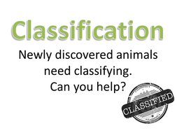 Classification of newly discovered species