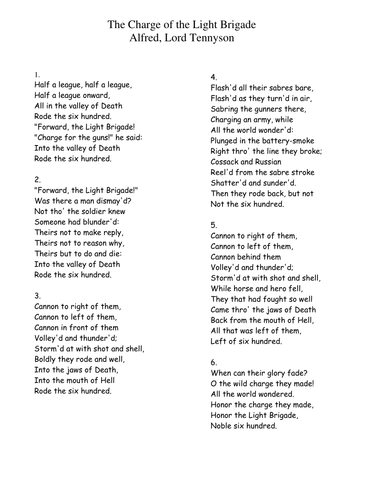 War Poetry Charge Of The Light Brigade