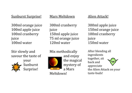 Space cocktails
