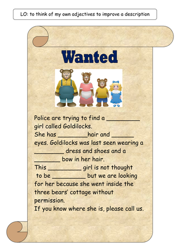 Big Bad Wolf Wanted Poster by kirstenstone - Teaching Resources - Tes