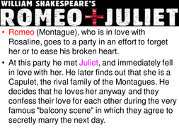 Romeo & Juliet: Play Summary Lesson for KS3 by