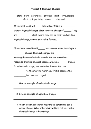Worksheet Physical And Chemical Changes Worksheet chemical physical changes by michael1989 teaching resources tes full docx