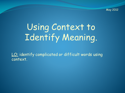 Identifying Meaning (Context)