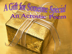 An Acrostic Poem A Gift For Someone Special By Imwells Teaching