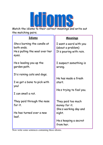Worksheets Idioms Worksheets idioms worksheets by supreme 316 teaching resources tes