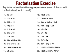 Factorisation Teaching Resources by ryansmailes | Teaching Resources