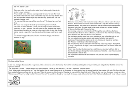 Fable stories and comprehension questions