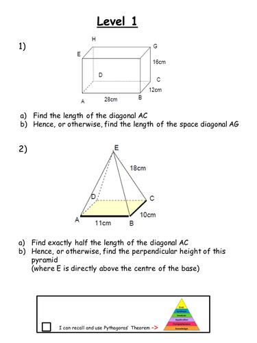 Gcse 3d Trigonometry Levelled Worksheets By Rhemsley Teaching