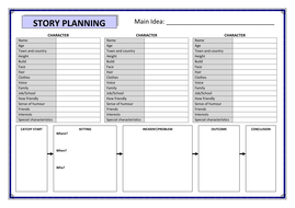 story planning template by pritchardlucy teaching resources tes