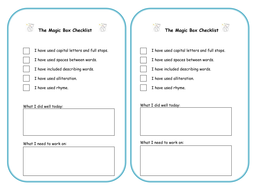 Self assessment checklist by tracey88 | Teaching Resources