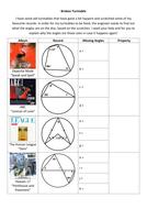 Broken Turntable Circle Theorems - Worksheet - KS4