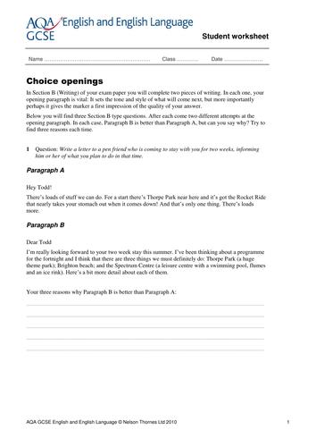 GCSE English revision worksheets