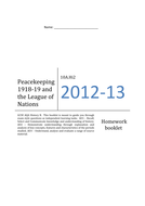League of Nations Termly  Homework Booklet