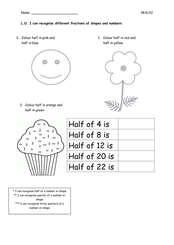 Fractions for Year 1 by CorrineP - Teaching Resources - TESLA Fractions worksheet.docx