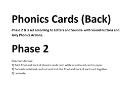 Phonics Flashcards- Sound Buttons & Jolly Actions by Madam_Adjowa ...