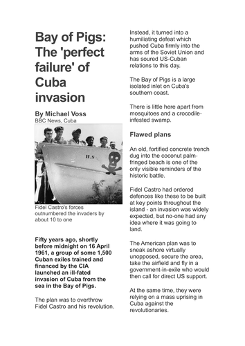 Printables Cuban Missile Crisis Worksheet the bay of pigs and cuban missile crisis by misslmvr teaching resources tes