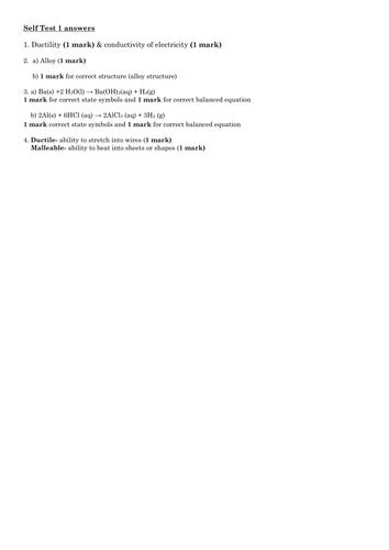 Properties of Metals Self Test