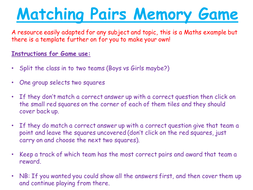Maths Matching Pairs Memory Game