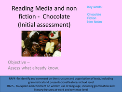 Chocolate L1 initial assessment and intro to media and nonfiction.pptx