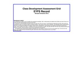 New EYFS (2012) Whole Class Assessment Grid