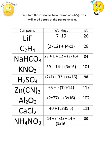 Printables Molar Mass Worksheet Answers With Work formula mass moles and by worksheets gerwynb teaching resources tes