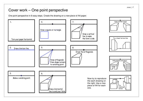 13 activities for cover lessons extension tasks by mrsimonbull – One Point Perspective Worksheet