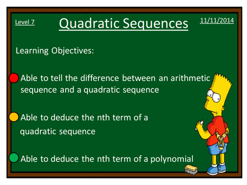 Quadratic sequences by dannytheref - Teaching Resources - TES