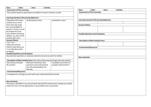 Group time or activity planning format eyfs by for Early years lesson plan template