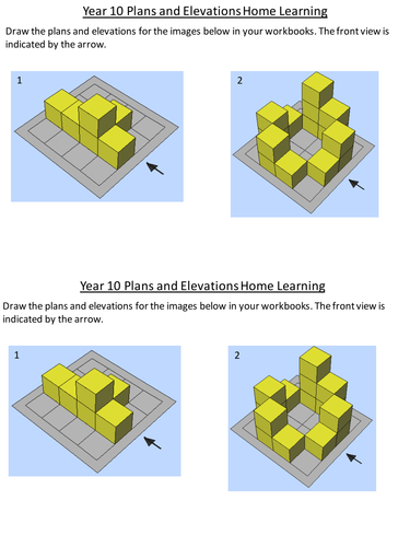 Plan And Elevation Worksheet : Plans and elevations by dannytheref teaching resources tes